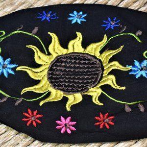 Black Solar Flower Face Mask- Artesanias Mexicanas